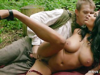 bunette playgirl getting it hard in the forest