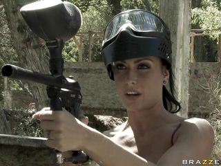 hot brunette playing paintball before some hot act