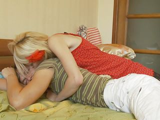 beautiful thin blond engulfing a lazy cock