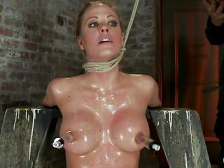 strangulated blond babe gets a hard cock in her mouth