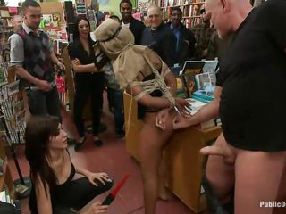 gorgeous whore gets humiliated in a book store