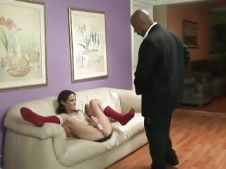 Amber Rayne takes a large dark cock after masturbating