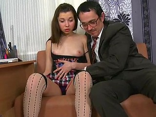 Little sexually sweet bitch is riding naughty on an old heavy schlong