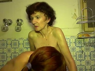 Old Granny playing with juvenile hawt beauty in washroom
