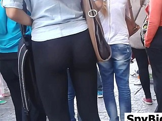 Great Ass In Dark Leggings Spied On