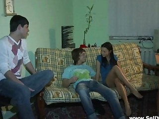 Hawt Brunette Legal age teenager Fucked on the Couch