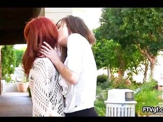 Two stunning lesbian legal age teenager women making