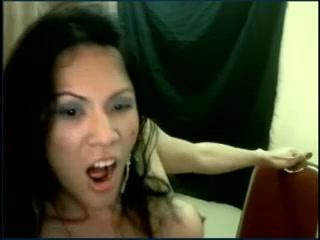 Crazy lady-man masturbating
