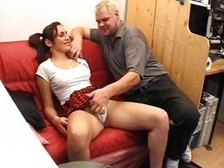 Concupiscent old man screws a sexy brunette