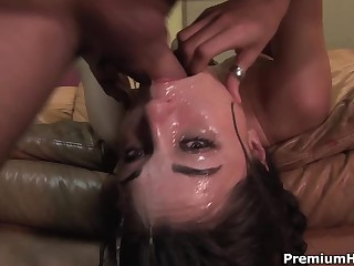 Well known dark-haired haired porn diva Sasha Grey gets her throat drilled exceedingly deep. This babe gets a mouthful of jizz after coarse face fucking on the couch.