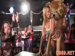 Bitches engulfing in disrobe club