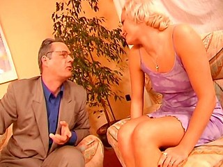 Blonde gives this old fellow some head and then gets ass banged
