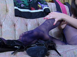 Jen showing her nylon feet