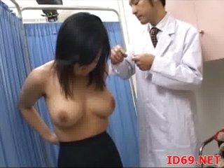 Japanese AV Model tastes her own cum-hole