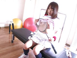 badminton girl discovers a self pleasure
