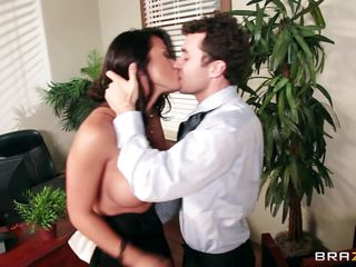 very hot dark brown slut with round tits fucking at workplace