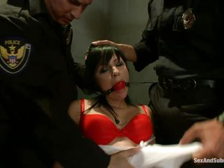 brunette hair chick dominated and fucked by two cops