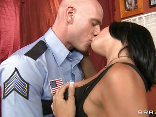 shaved policeman fucking a hot brunette hair milf in the mouth