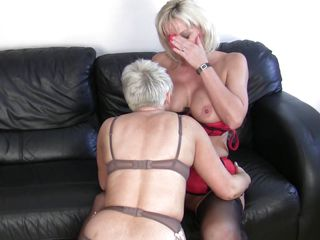 mature golden-haired lesbians having fun and hard sex