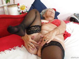 granny blond slut fingering her wet crack