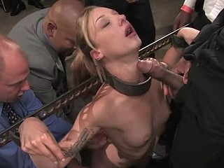 Tied up weird floozy is getting her throat filled with penis