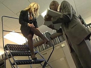 Busty blonde office gal acquires fucked by dark shlong