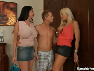 Two milfs. Michelle McLaren and Nadia Night. both with large boobs and long legs meet Nadia's son's ally at home.  He is curious about sex with 2 breasty moms. Slutty large boobed milfs strip. engulf and get fucked!