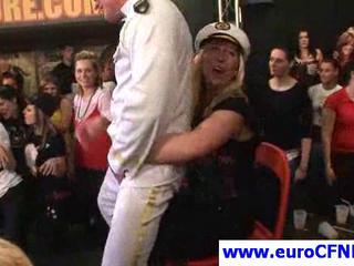 Blonde girl playing with a stripper