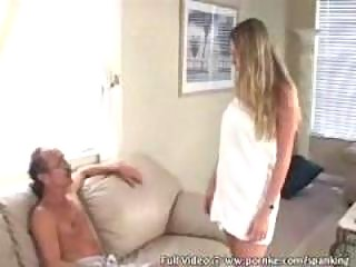 Girl gets spanked for cheating