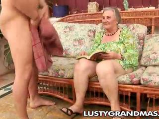 Nasty granny Margots shaggy pussy for young jock