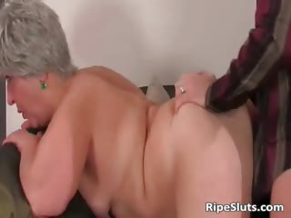 Busty chunky older slut gets moist rock hard