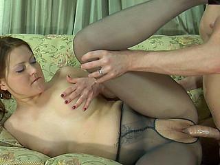 Megan&Rolf videotaped whilst pantyhosing
