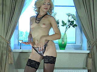 Ninette teasing with her nylons