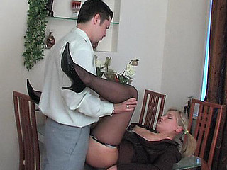 Benett&Adam office pantyhose movie scene