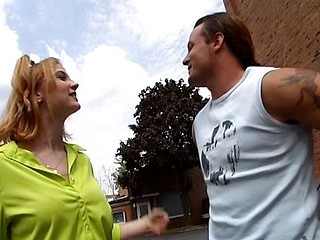 He drops trou and copulates this german tramp in a parking lot