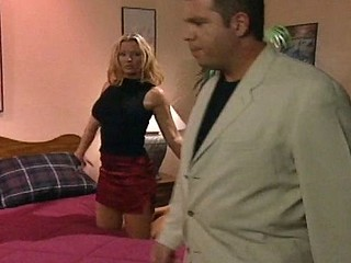 Skinny lascivious fair-haired honey blows a overweight guy's big cock