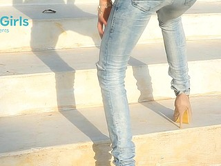 Hottie in skin taut jeans bent and drilled