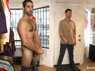 cute gay knelt, dominated and gang gangbanged in a store