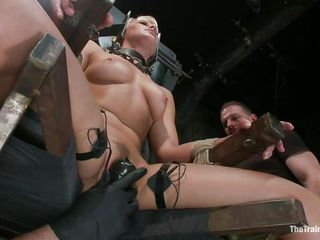 blonde in bondage device acquires harsh treatment