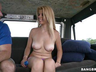 blonde feels a dildo inside her