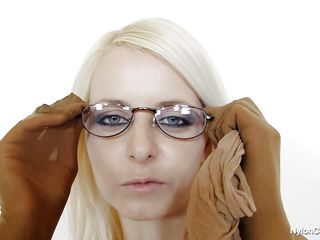 hot blonde with dorky glasses masturbates overspread in nylon