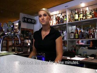 hot blonde bartender giving head