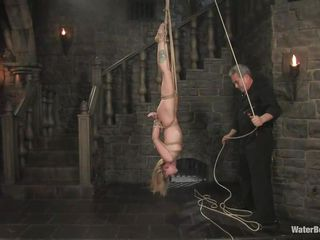 marvelous blonde milf hanging upside down and getting soaked
