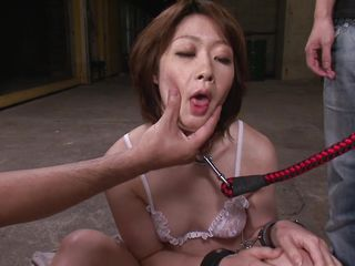 japanese milf on leash made to suck cock