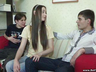 long hair teen enjoys sucking dong