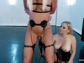 see two blond lesbians having a kinky time together