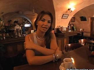 Brunette at bar talks about sex for specie cash