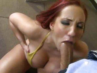 Saucy Kelly Divine throat bonks a stiff boner