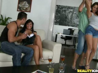 Big Tittied Brunettes Getting Fucked in Foursome