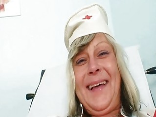 Naughty nurse mommy id like to fuck Nada fucks herself jointly with big rubber toy